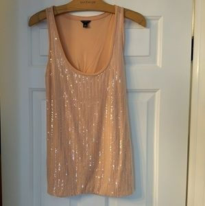 Ann Taylor Very Rare, Pink Sequin Scoop Neck Tank